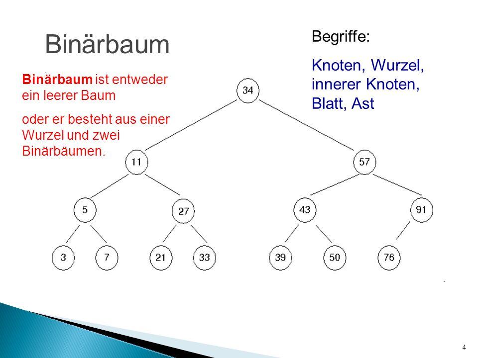 Binärbaum Begriffe: Knoten, Wurzel, innerer Knoten, Blatt, Ast