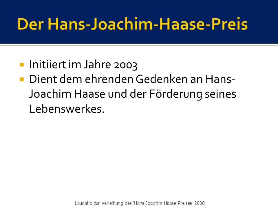 Der Hans-Joachim-Haase-Preis