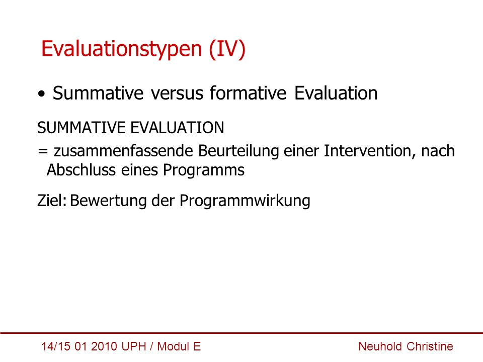 Evaluationstypen (IV)