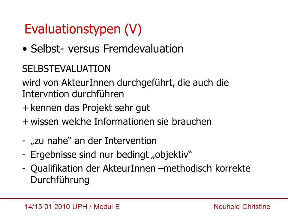 Evaluationstypen (V) Selbst- versus Fremdevaluation SELBSTEVALUATION