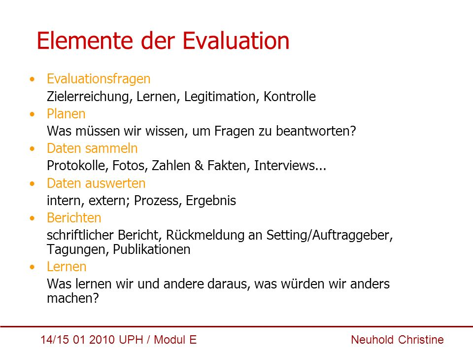 Elemente der Evaluation