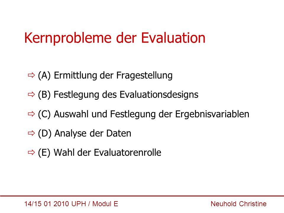 Kernprobleme der Evaluation