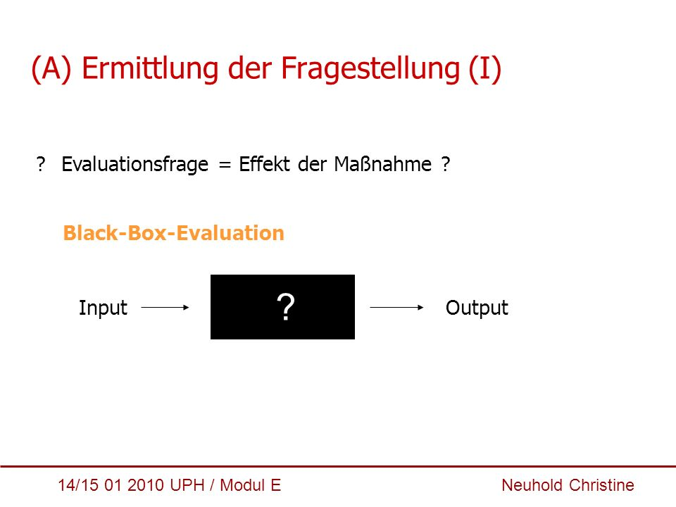 (A) Ermittlung der Fragestellung (I)