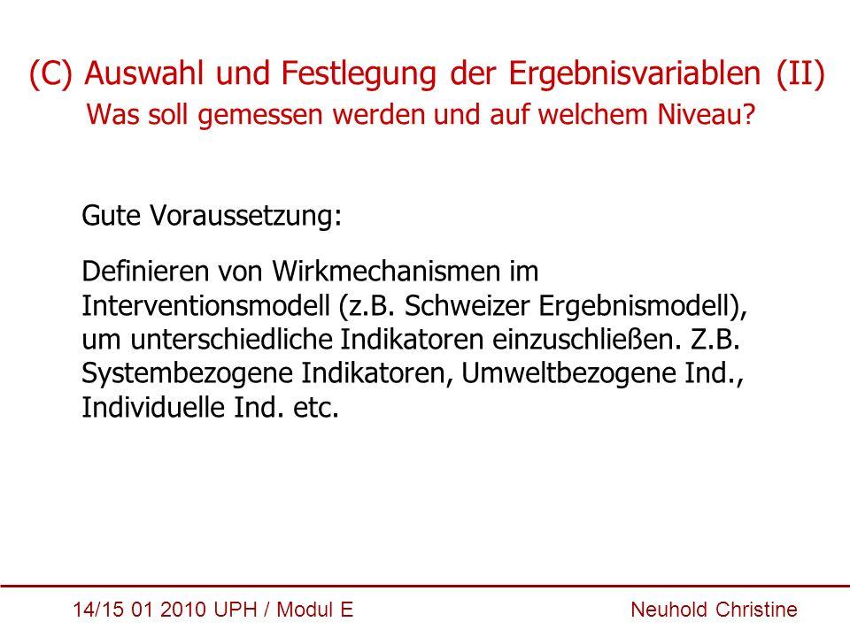 (C) Auswahl und Festlegung der Ergebnisvariablen (II)