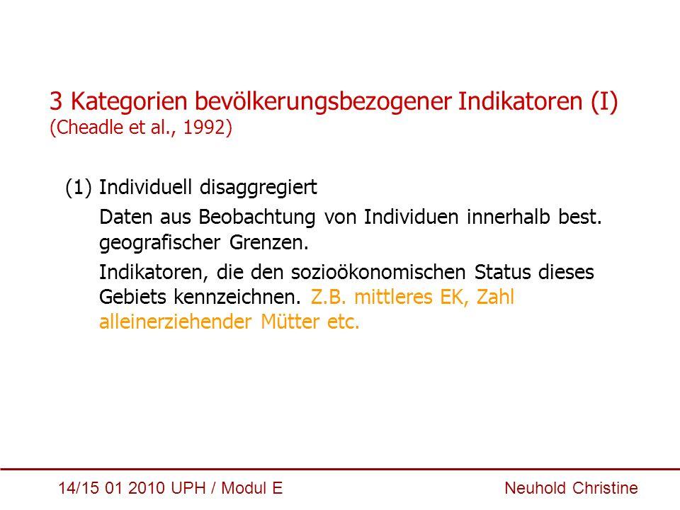 3 Kategorien bevölkerungsbezogener Indikatoren (I) (Cheadle et al