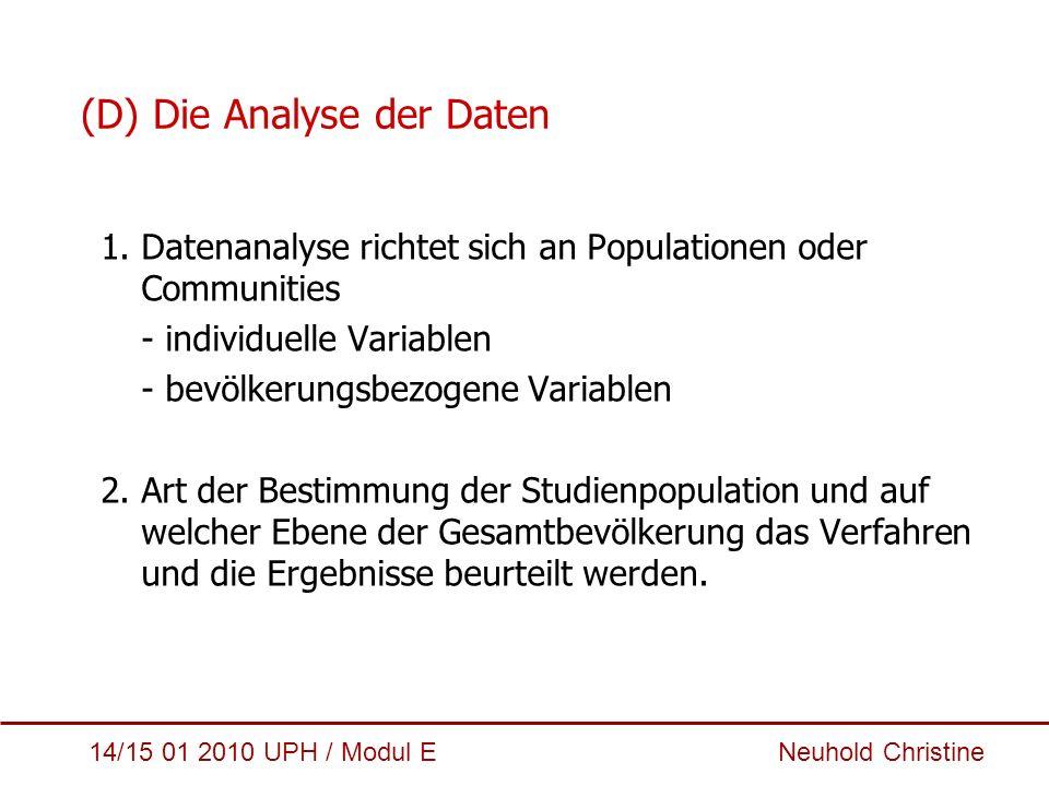 (D) Die Analyse der Daten