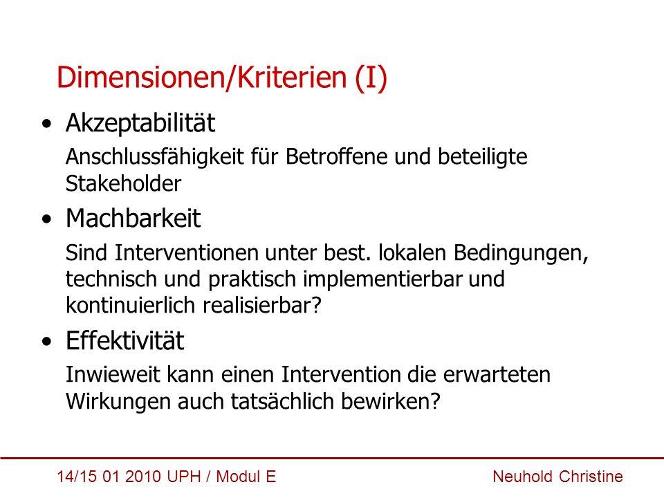 Dimensionen/Kriterien (I)