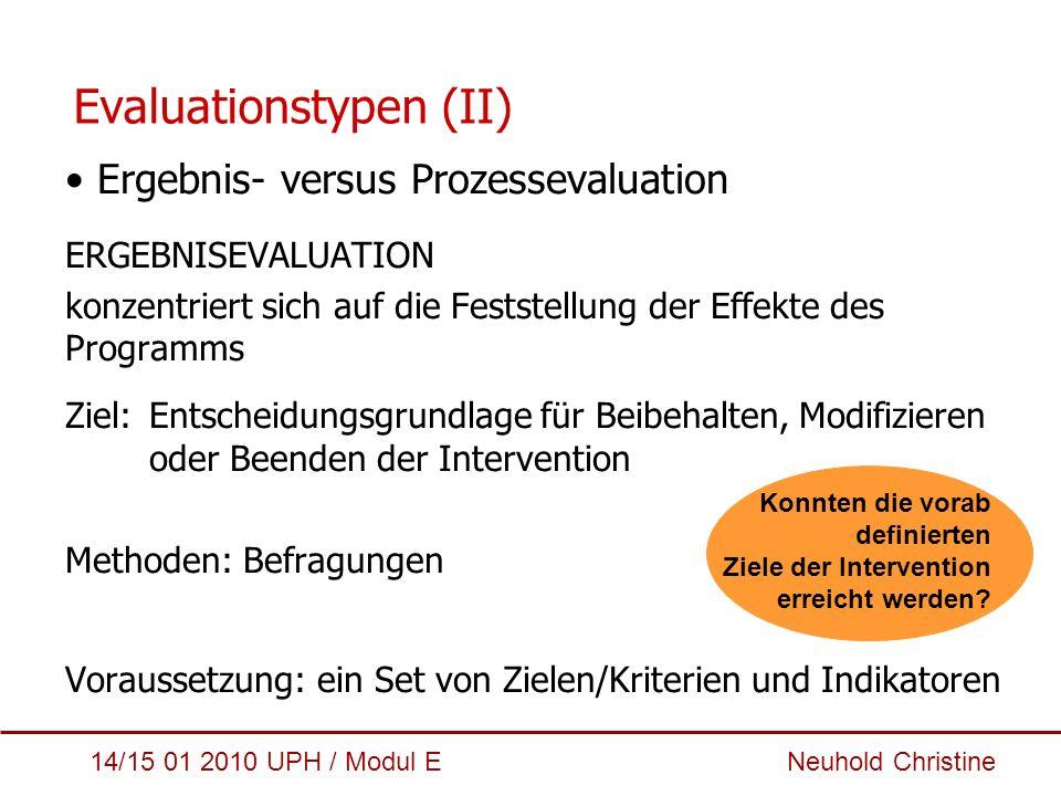 Evaluationstypen (II)