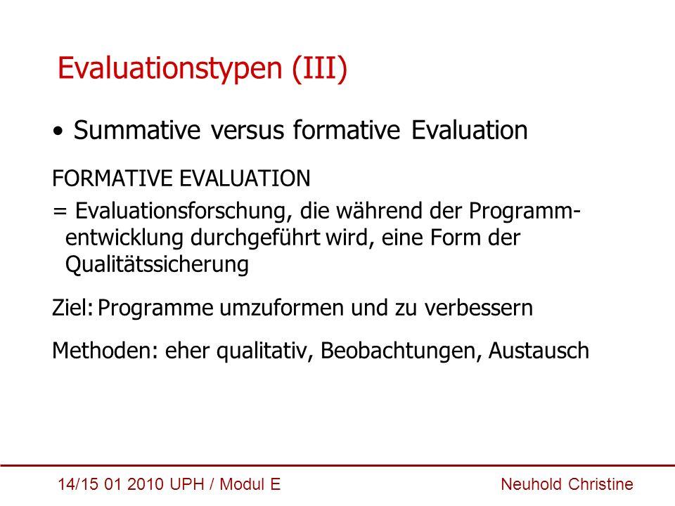 Evaluationstypen (III)