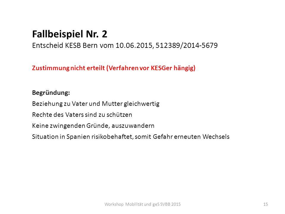 Workshop Mobilität und geS SVBB 2015