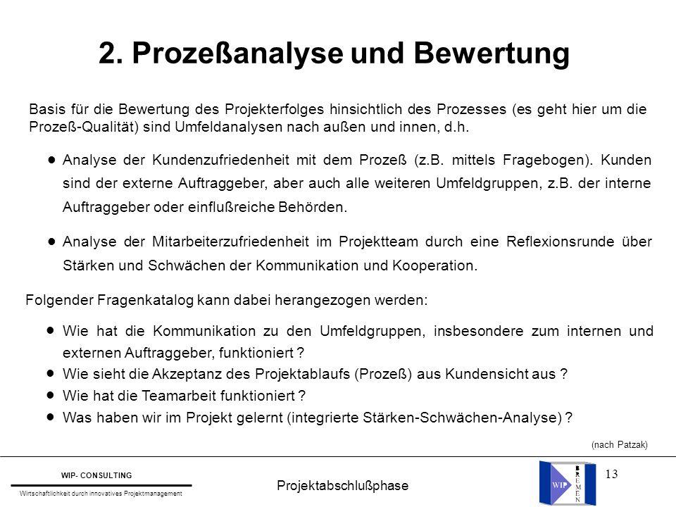 2. Prozeßanalyse und Bewertung
