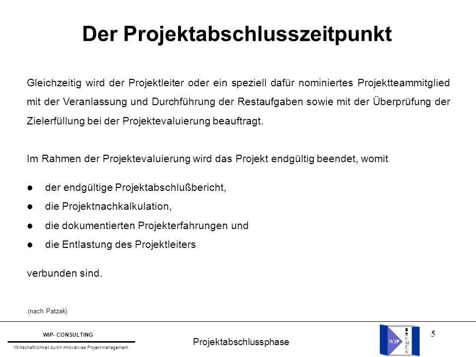 Der Projektabschlusszeitpunkt