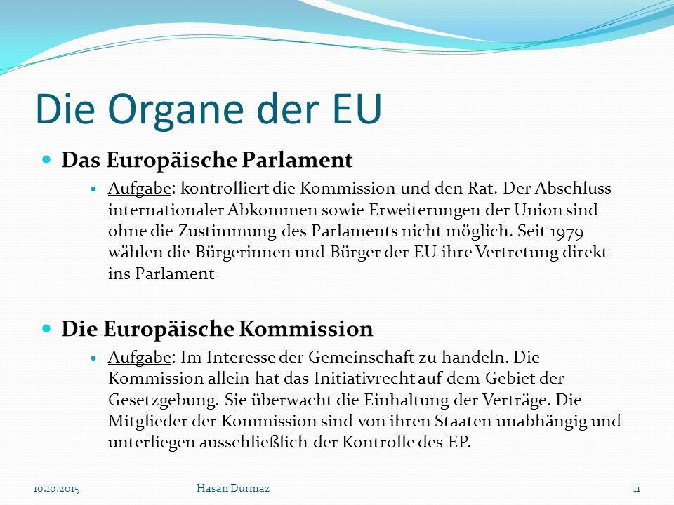 Die Organe der EU Das Europäische Parlament Die Europäische Kommission
