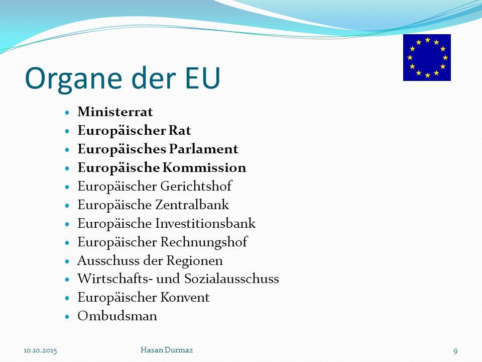 Organe der EU Ministerrat Europäischer Rat Europäisches Parlament