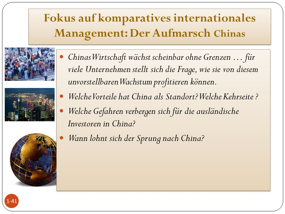 Fokus auf komparatives internationales Management: Der Aufmarsch Chinas