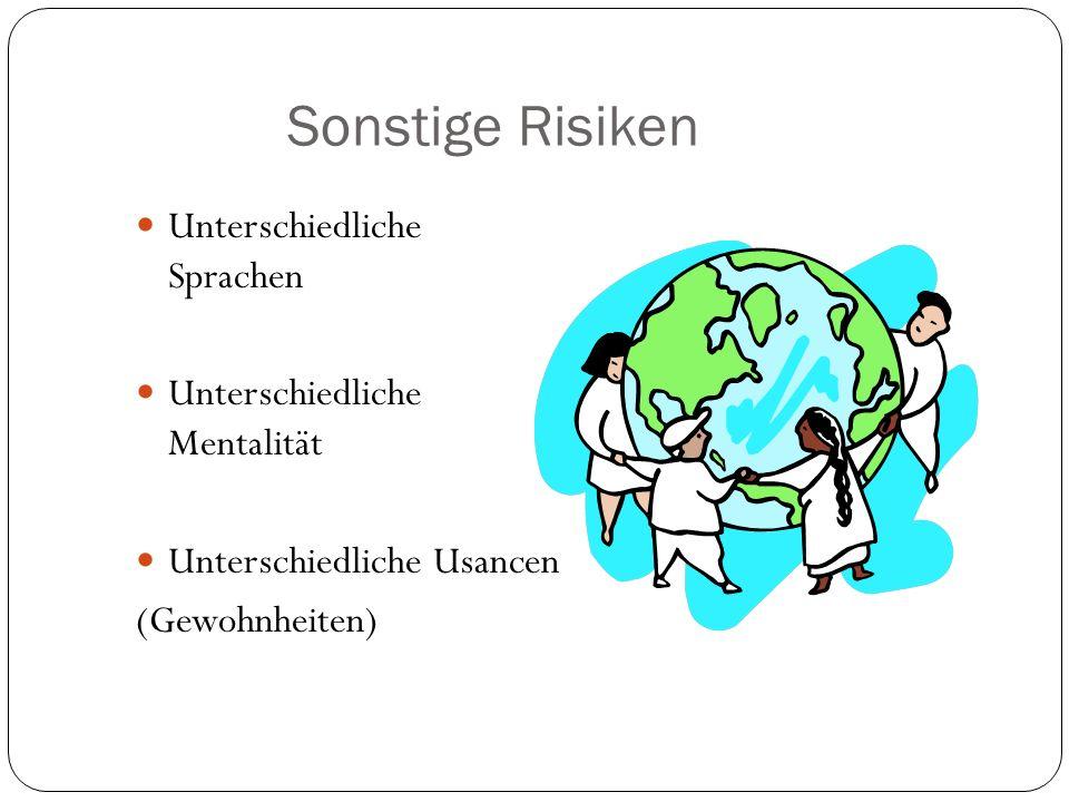 Sonstige Risiken Unterschiedliche Sprachen Unterschiedliche Mentalität