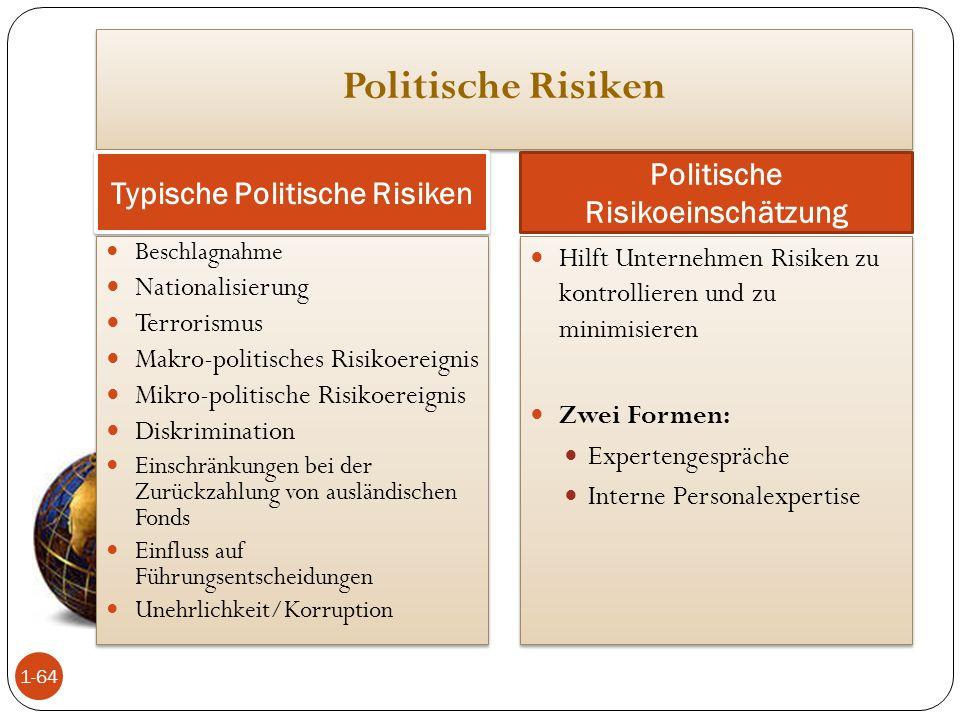 Typische Politische Risiken Politische Risikoeinschätzung