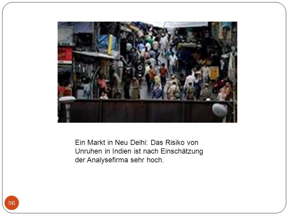 Ein Markt in Neu Delhi: Das Risiko von Unruhen in Indien ist nach Einschätzung der Analysefirma sehr hoch.