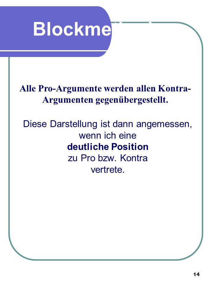 Alle Pro-Argumente werden allen Kontra-Argumenten gegenübergestellt.
