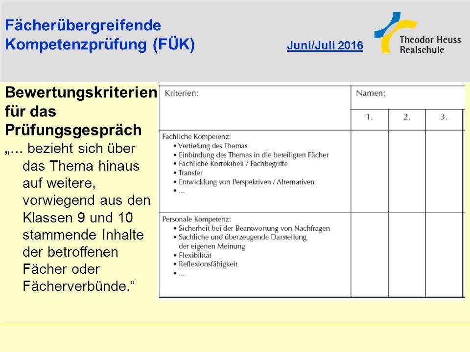 Fächerübergreifende Kompetenzprüfung (FÜK) Juni/Juli 2016. Bewertungskriterien. für das Prüfungsgespräch.