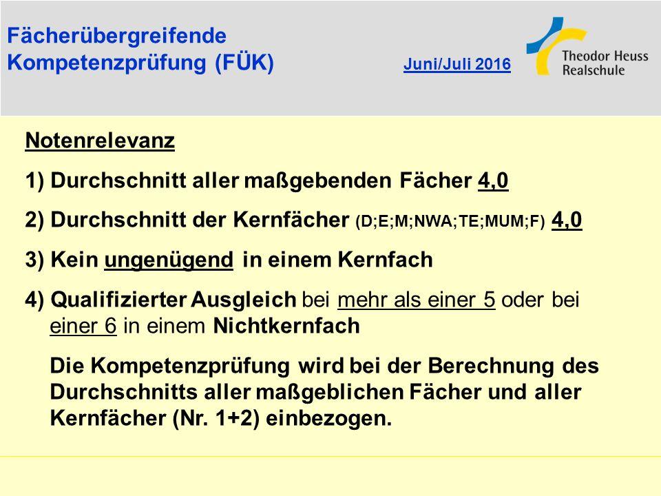 Fächerübergreifende Kompetenzprüfung (FÜK) Juni/Juli 2016. Notenrelevanz. 1) Durchschnitt aller maßgebenden Fächer 4,0.