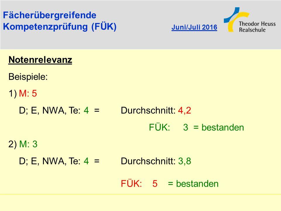 Fächerübergreifende Kompetenzprüfung (FÜK) Juni/Juli 2016. Notenrelevanz. Beispiele: 1) M: 5. D; E, NWA, Te: 4 = Durchschnitt: 4,2.