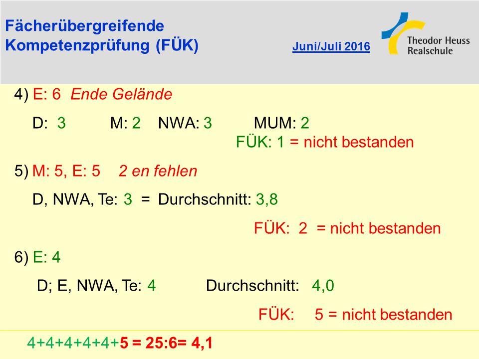 Kompetenzprüfung (FÜK) Juni/Juli 2016