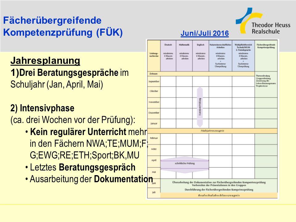 Fächerübergreifende Kompetenzprüfung (FÜK) Juni/Juli 2016. Jahresplanung. 1)Drei Beratungsgespräche im Schuljahr (Jan, April, Mai)