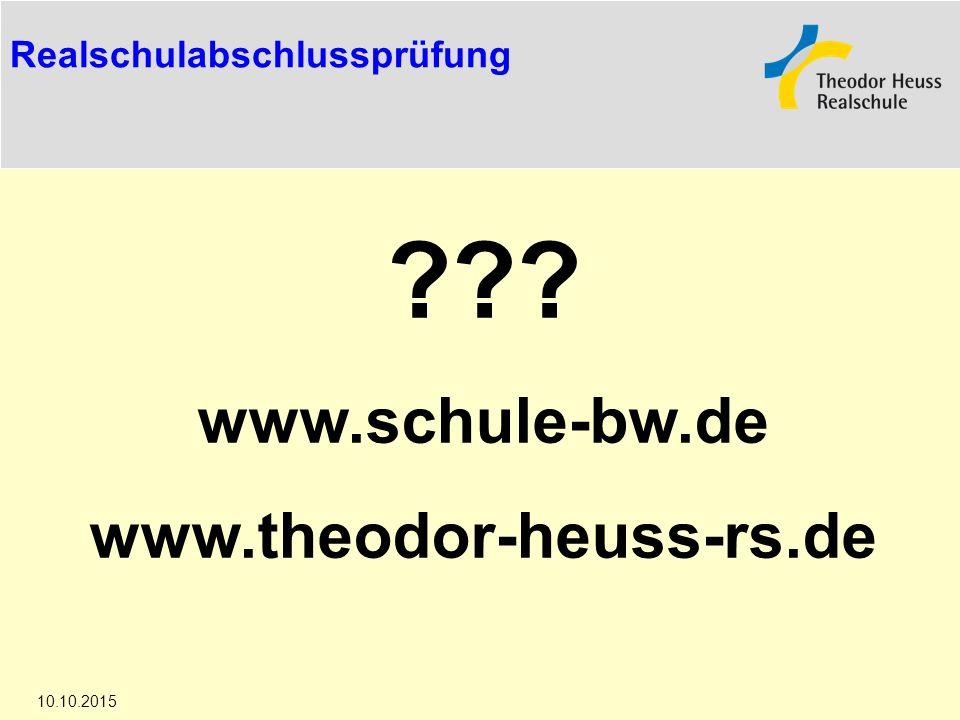 www.schule-bw.de www.theodor-heuss-rs.de Realschulabschlussprüfung