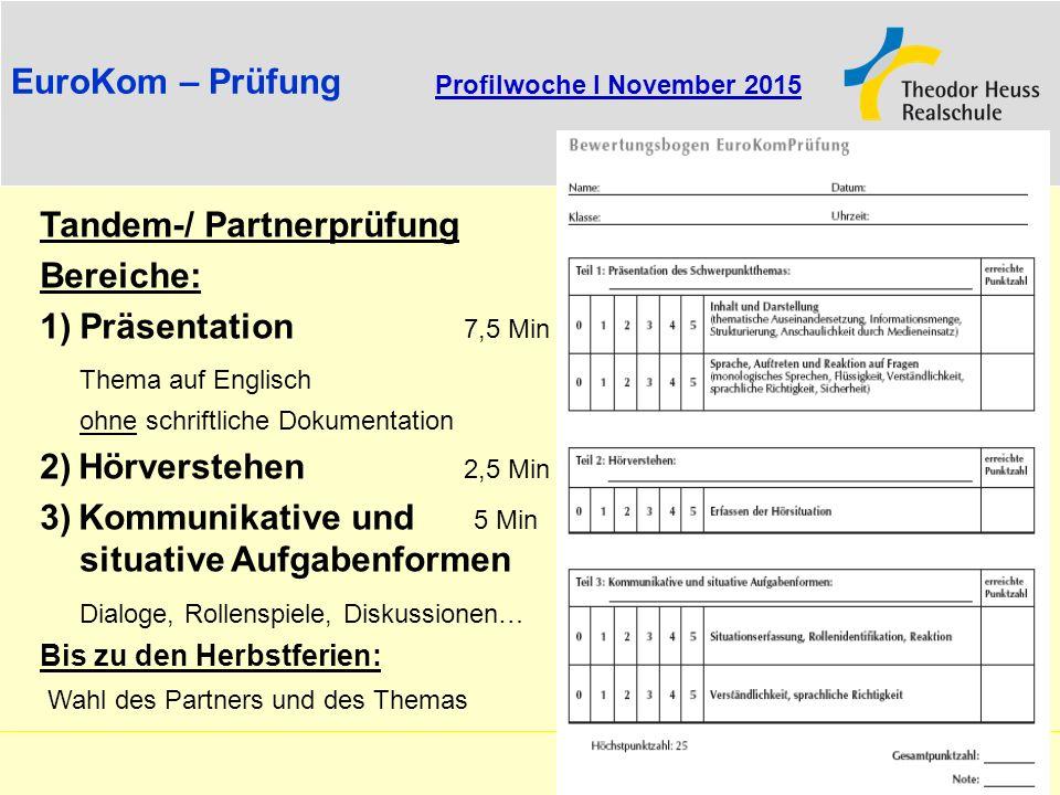 EuroKom – Prüfung Profilwoche I November 2015