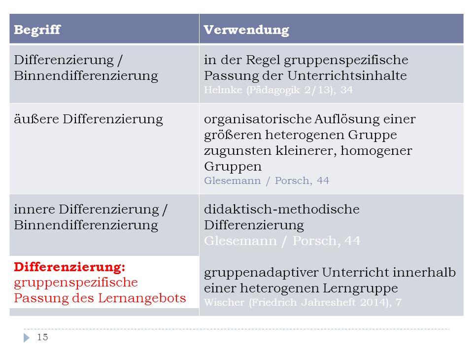 Differenzierung / Binnendifferenzierung