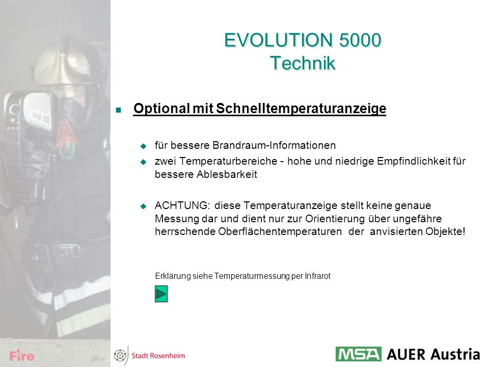 EVOLUTION 5000 Technik Optional mit Schnelltemperaturanzeige