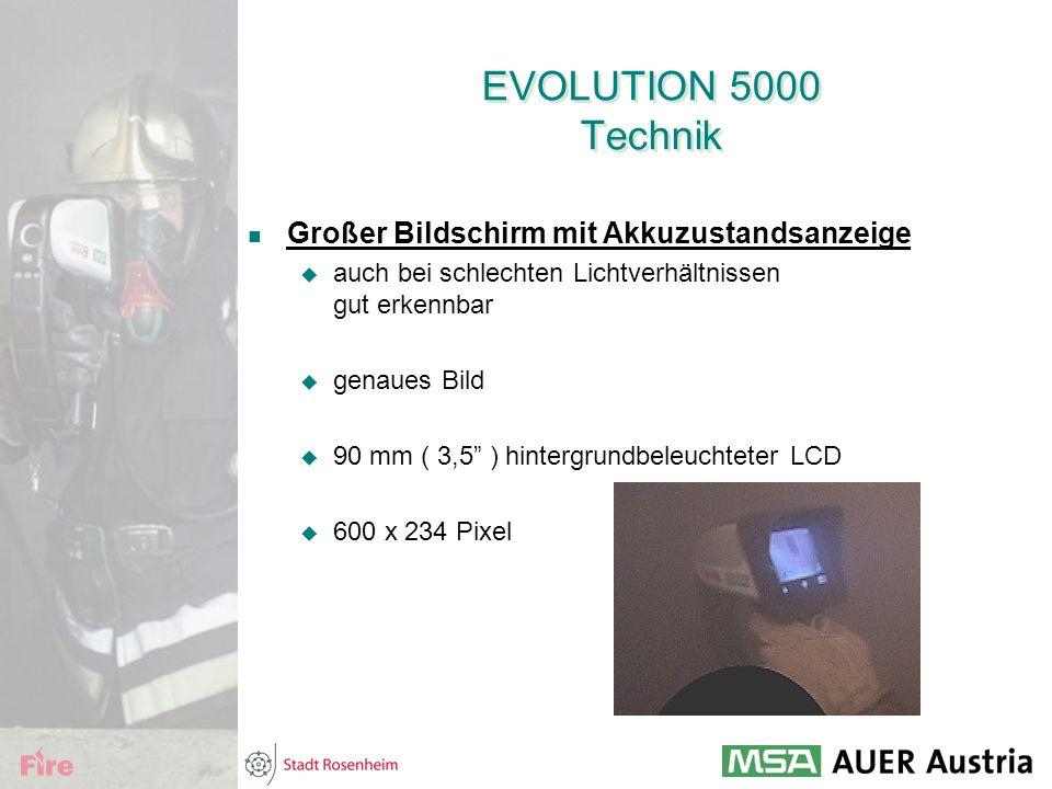 EVOLUTION 5000 Technik Großer Bildschirm mit Akkuzustandsanzeige