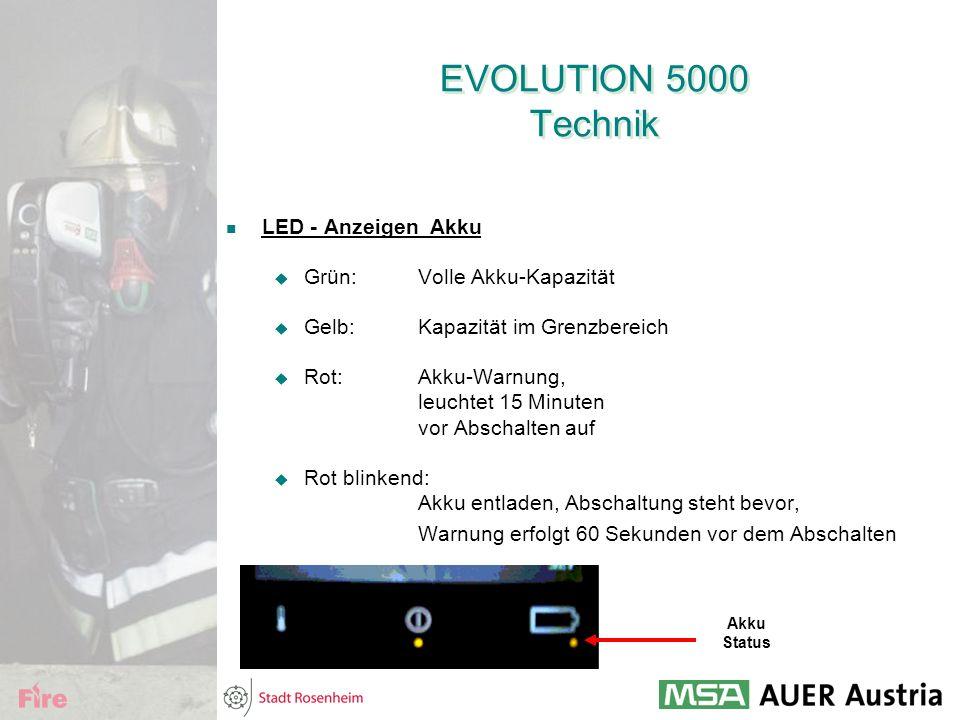 EVOLUTION 5000 Technik LED - Anzeigen Akku Grün: Volle Akku-Kapazität