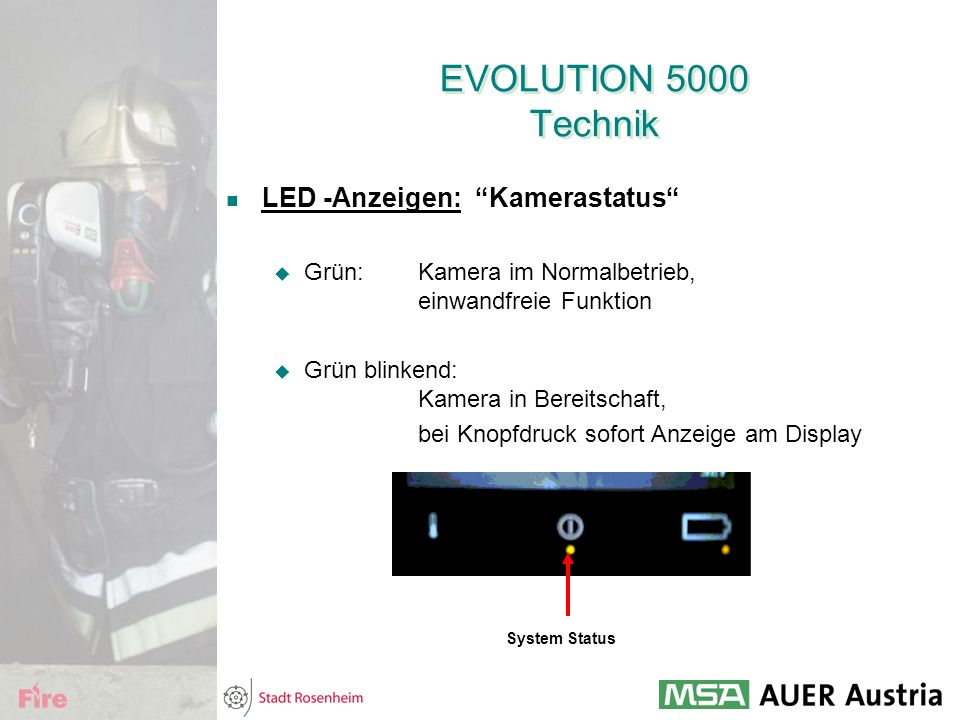 EVOLUTION 5000 Technik LED -Anzeigen: Kamerastatus