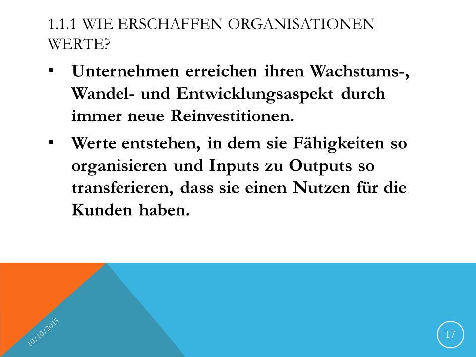 1.1.1 Wie erschaffen Organisationen Werte