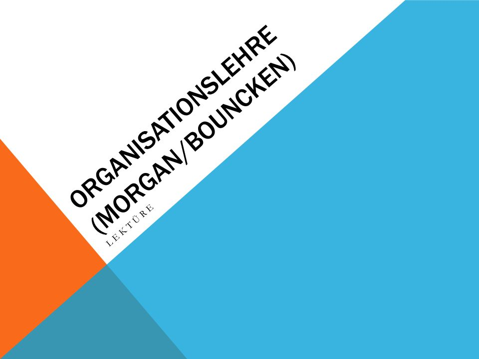 Organisationslehre (morgan/Bouncken)