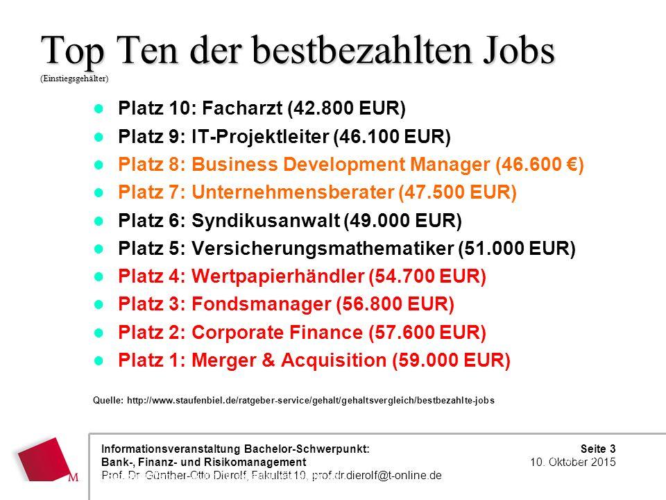 Top Ten der bestbezahlten Jobs (Einstiegsgehälter)