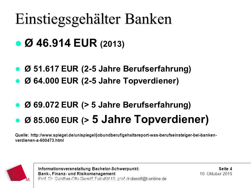 Einstiegsgehälter Banken