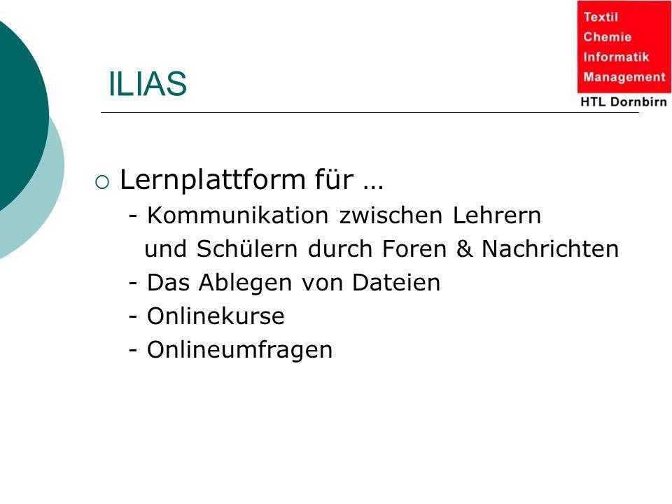 ILIAS Lernplattform für … - Kommunikation zwischen Lehrern