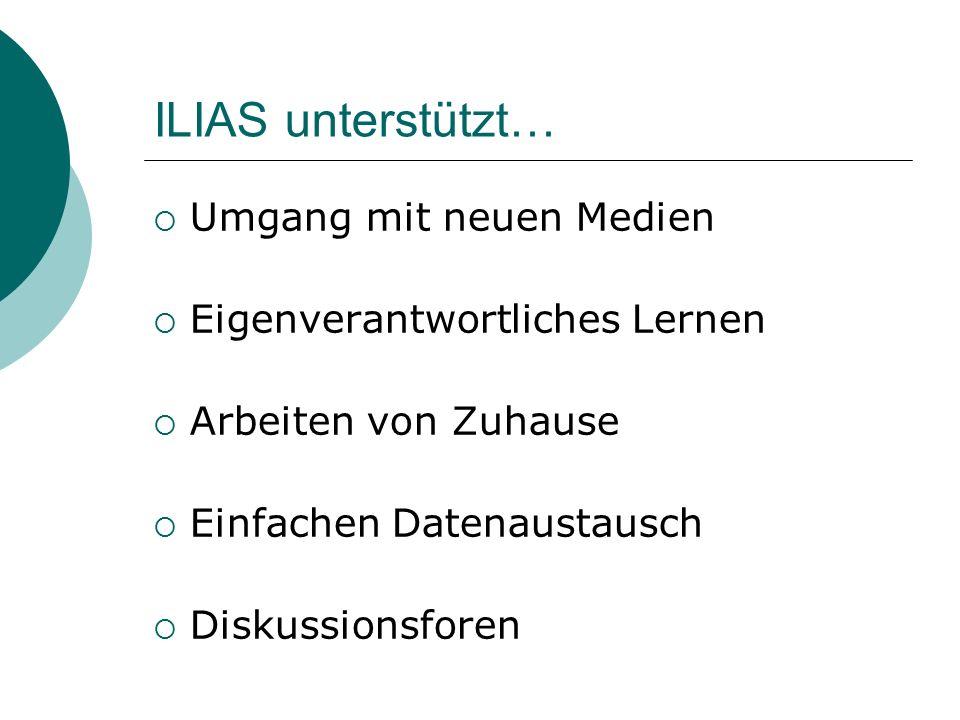 ILIAS unterstützt… Umgang mit neuen Medien