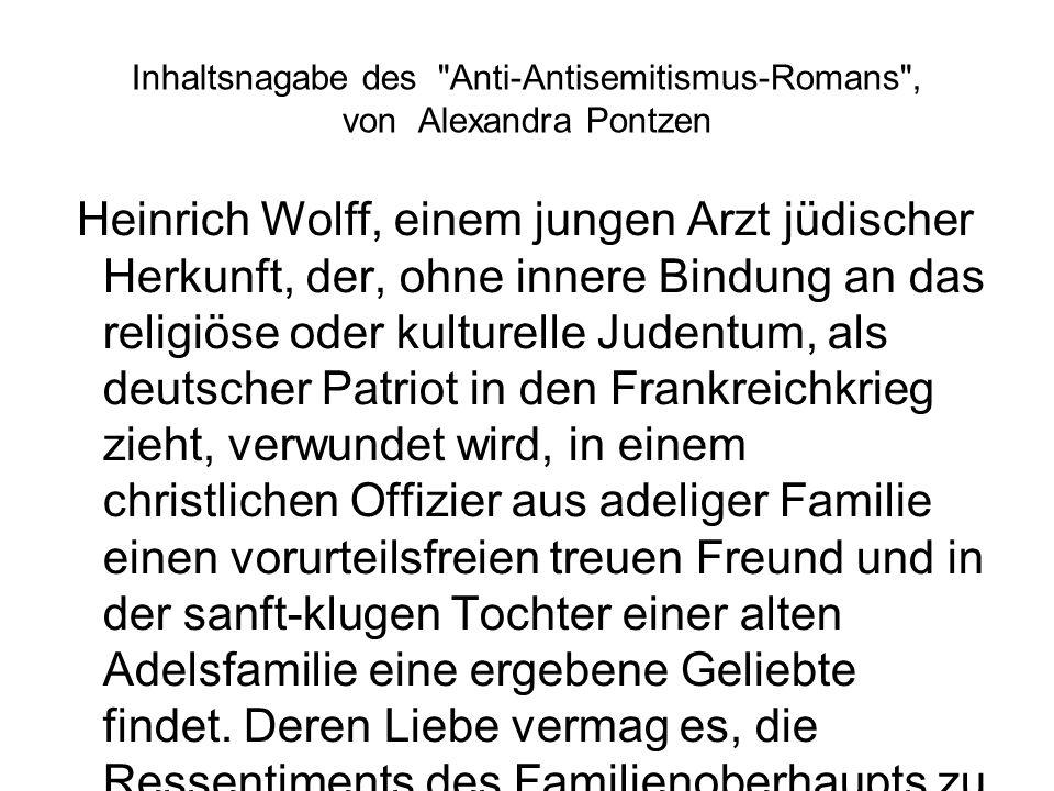 Inhaltsnagabe des Anti-Antisemitismus-Romans , von Alexandra Pontzen