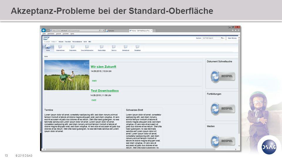 Akzeptanz-Probleme bei der Standard-Oberfläche