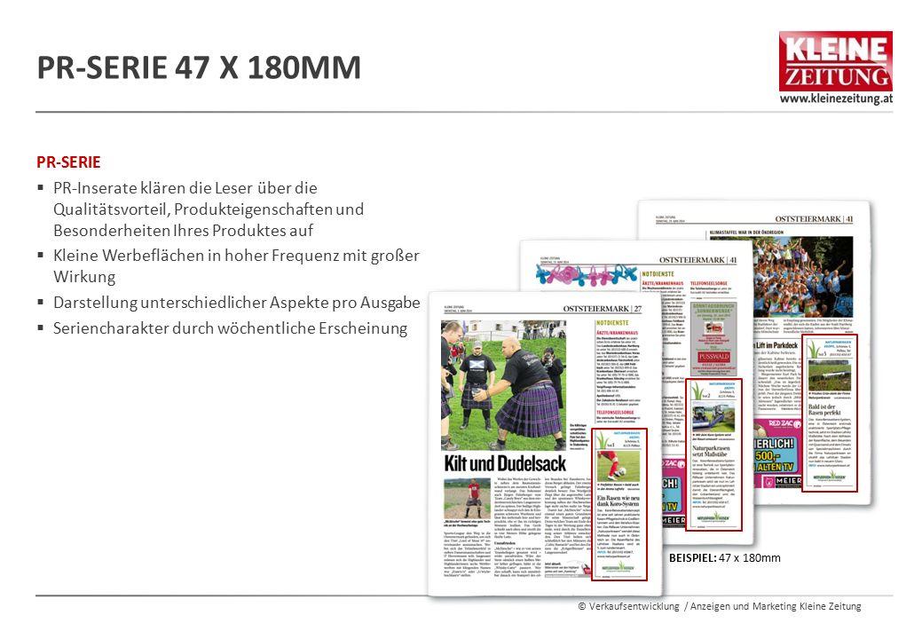 PR-Serie 47 x 180mm PR-SERIE. PR-Inserate klären die Leser über die Qualitätsvorteil, Produkteigenschaften und Besonderheiten Ihres Produktes auf.