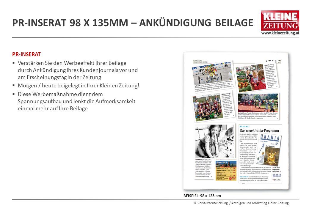 PR-Inserat 98 x 135mm – Ankündigung Beilage