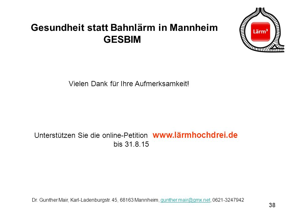 Gesundheit statt Bahnlärm in Mannheim GESBIM