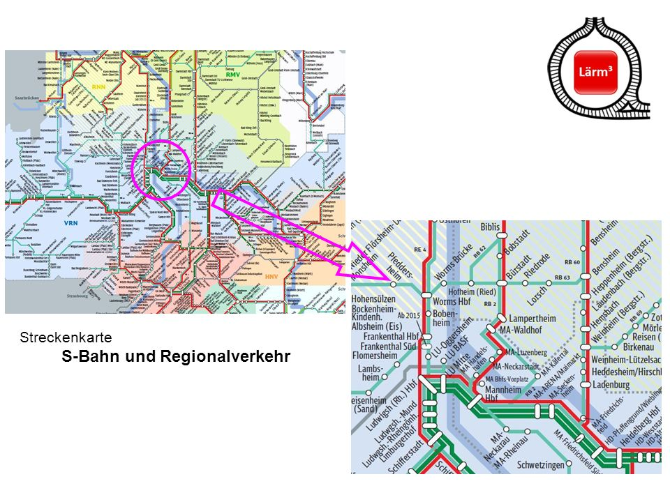 Streckenkarte S-Bahn und Regionalverkehr