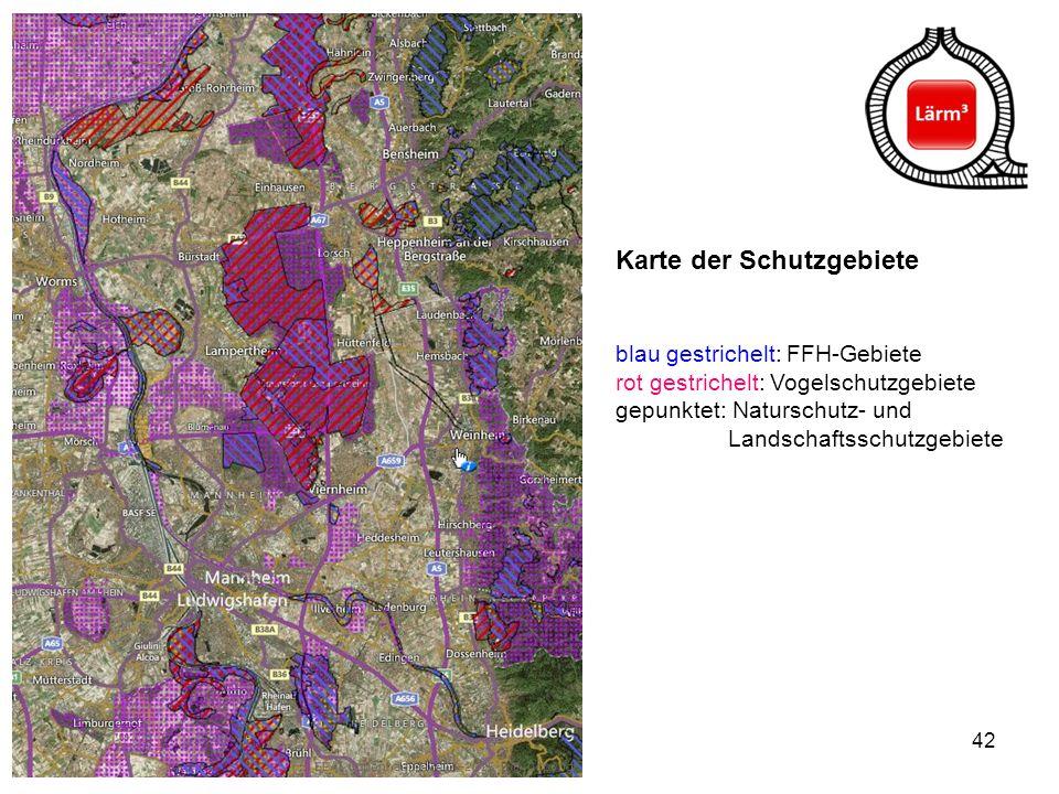 Karte der Schutzgebiete blau gestrichelt: FFH-Gebiete rot gestrichelt: Vogelschutzgebiete gepunktet: Naturschutz- und Landschaftsschutzgebiete