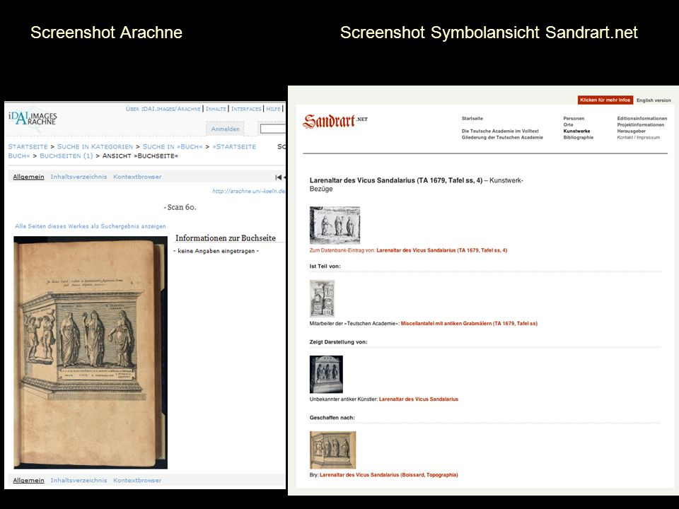 Screenshot Arachne Screenshot Symbolansicht Sandrart.net