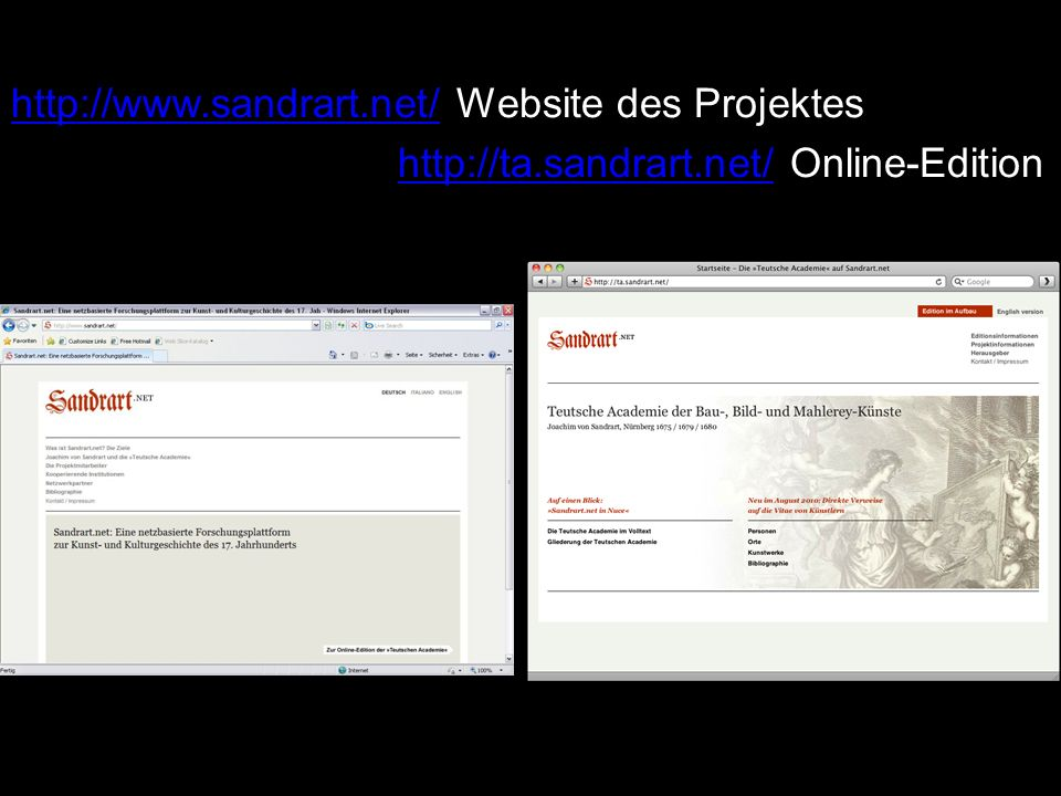 http://www.sandrart.net/ Website des Projektes